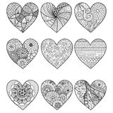 Nine zendoodle stylized hearted shape Stock Photos