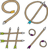 Nine, Zero, Pound and Percent Arrows Stock Photography