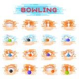 Ninepins kegling de la bola que ruedan y de los bolos que estrellan las combinaciones del juego kegling el ejemplo del vector Imagenes de archivo