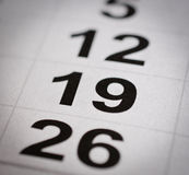 Nineteen calendar number. Close up black white calendar nineteen number royalty free stock photos