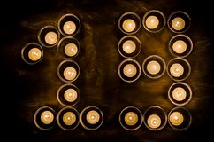 Nineteen made of candles Royalty Free Stock Images