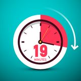 19 Nineteen Minutes Clock Icon. Time Symbol with Arrow royalty free illustration