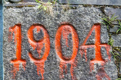Nineteen o'four 1904 old year stone Royalty Free Stock Photography