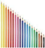 Nineteen pencils. Vector illustration of nineteen coloured pencils Stock Photo