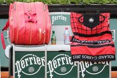 Nineteen times Grand Slam champion Serena Willams personalized Wilson tennis bag at Roland Garros. PARIS, FRANCE- MAY 28, 2015: Nineteen times Grand Slam Royalty Free Stock Image