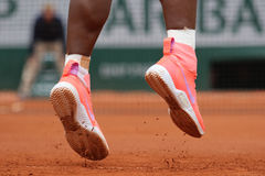 Nineteen times Grand Slam champion Serena Willams wears custom Nike tennis shoes during second round match at Roland Garros Stock Photo