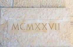 Nineteen Twenty Seven in Roman Numerals. On Stone Stock Photography