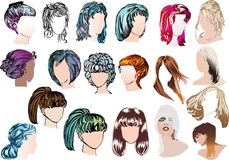 Nineteen Woman Modern Hairstyles Royalty Free Stock Images