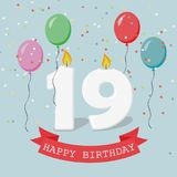 Nineteen years anniversary greeting card with candles. Confetti and balloons Stock Photography