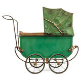 Nineteenth Century baby pram isolated on white Royalty Free Stock Photo