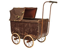 Nineteenth Century baby pram isolated on white Stock Photo