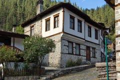 Nineteenth century houses in historical town of Shiroka Laka, Smolyan Region, Bulgaria royalty free stock image