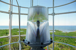 Nineteenth century lighthouse lantern room. Image of the surrounding landscape from inside a nineteenth century lighthouse lantern room Stock Images