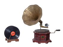 Nineteenth century phonograph gramophone and vinyl records isolated on white including clipping path Stock Images