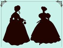 Nineteenth century style historic fashion women silhouettes Stock Photos