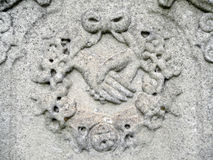 Nineteenth century tombstone detail clasped hands Royalty Free Stock Photo
