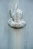 Nineteenth century tombstone detail hand pointing Stock Photography