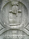 Nineteenth century tombstone detail at rest hand Royalty Free Stock Photo