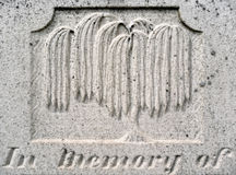 Nineteenth century tombstone detail weeping willow Royalty Free Stock Images