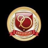 Ninety Anniversary Red Shield Luxury Badge. 90 Years Anniversary emblem. Premium luxury anniversary badge stock illustration