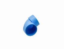 Ninety degree elbow reducer. Image of PVC ninety degree elbow reducer pipe with white background Royalty Free Stock Image