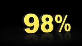 Ninety-eight переводов процентов 3D 98% Иллюстрация вектора