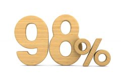ninety eight percent on white background. Isolated 3D illustration royalty free stock photos