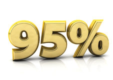 Ninety five percent gold. 3d gold ninety five percent on white background Stock Photo