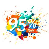 95 percents sale. Splash paint. Ninety five percents sale. Vector splash paint Stock Illustration