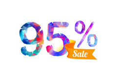 95 ninety five percents sale. Vector triangular digits stock illustration