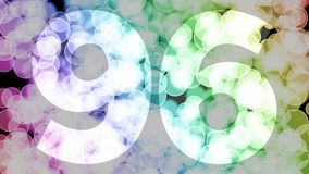 Ninety five to ninety six years birthday fade in/out animation with color gradient moving bokeh background. Animation: 90 frames still with number, 180 fade stock illustration
