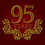 Ninety five years anniversary celebration patterned logotype. Ninety fifth anniversary vintage golden logo. With shadow Stock Photography