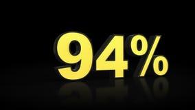 Ninety-four 94 % percent 3D rendering. Ninety-four 94 percent caption 3D rendering Stock Photo