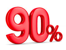 Ninety percent on white background. Isolated 3D Stock Photo