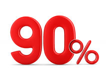 Ninety percent on white background. Isolated 3D illustration Stock Photos