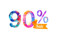 90 ninety percents sale. Vector triangular digits royalty free illustration