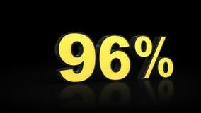 Ninety-six 96 % percent 3D rendering Stock Photo