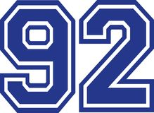 Ninety-two college number 92. Vector Stock Image