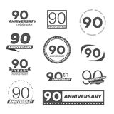 Ninety years anniversary celebration logotype. 90th anniversary logo collection. Vector Royalty Free Stock Images