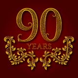 Ninety years anniversary celebration patterned logotype. Ninetieth anniversary vintage golden logo. With shadow Stock Photography