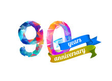 90 ninety years anniversary. Vector triangular digits Stock Photos