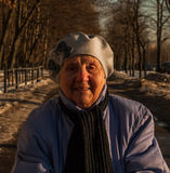 Ninety years old woman walking. Photo took in Moscow, Russian Stock Photography