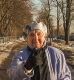 Ninety years strict old woman Royalty Free Stock Photography