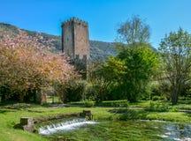 Ninfa庭院,风景庭院在奇斯泰尔纳迪拉蒂纳疆土,拉提纳省的,中央意大利 库存照片