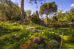 Ninfa浪漫庭院与废墟和花的 免版税库存照片