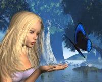 Ninfa azul da borboleta e de água - 2 Fotografia de Stock Royalty Free