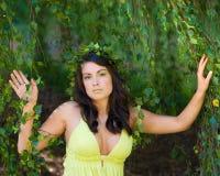 Ninfa bajo un árbol que llora Fotografía de archivo libre de regalías