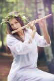 Ninfa bonita da floresta com uma flauta Imagem de Stock Royalty Free