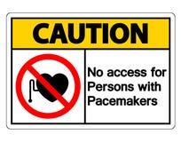 Ning?n acceso para las personas con la muestra del s?mbolo de los marcapasos en el fondo blanco stock de ilustración
