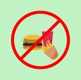Ningún cartel de la comida basura Foto de archivo libre de regalías